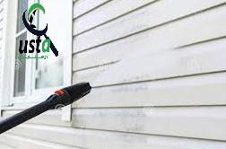 تمیزکردن دیوار حیاط